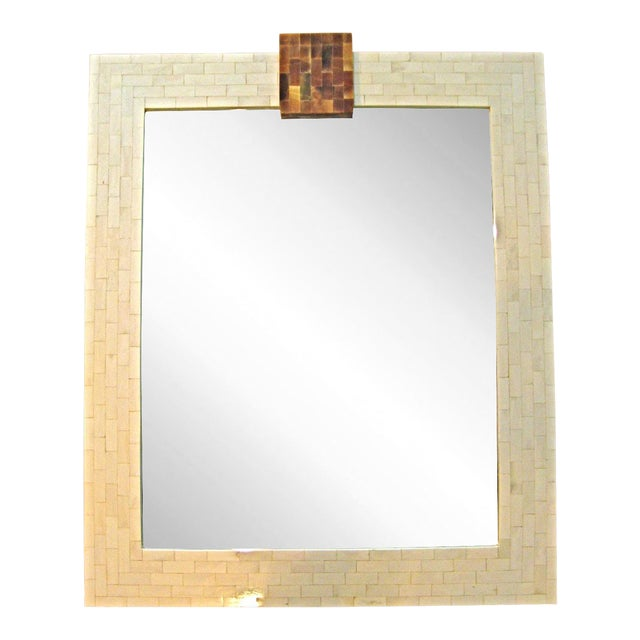 Tesselated Bone Mirror with Horn Keystone For Sale