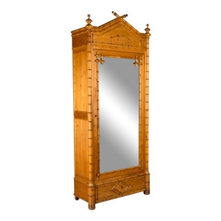 19th Century French Faux Bamboo Armoire with Large Mirror For Sale