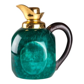 Aldo Tura Green and Brass Carafe