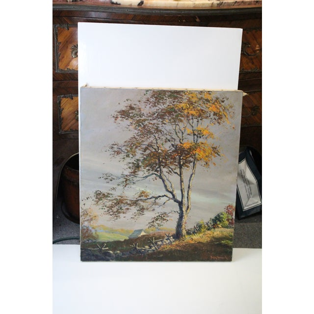 "Serene Foster Caddell oil on canvas of a tree in Fall. Titled, ""Golden Shaft"". Signed but unframed."