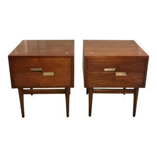 1950s Mid Century Modern American of Martinsville Aluminum Inlaid Nightstands by Merton Gershun - a Pair For Sale
