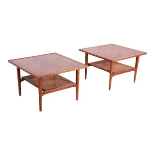 Kipp Stewart for Drexel Declaration Mid-Century Modern Walnut and Cane Side Tables, Pair For Sale