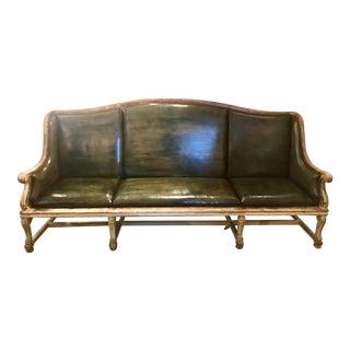 19th Century Swedish Painted Leather Upholstered Sofa