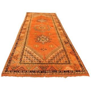 Moroccan Vintage Orange Color Tribal African Pile Rug For Sale