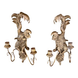 Opposing Pair Giltwood Vintage Carved Monkey and Palm Leaves Sconces-A Pair For Sale