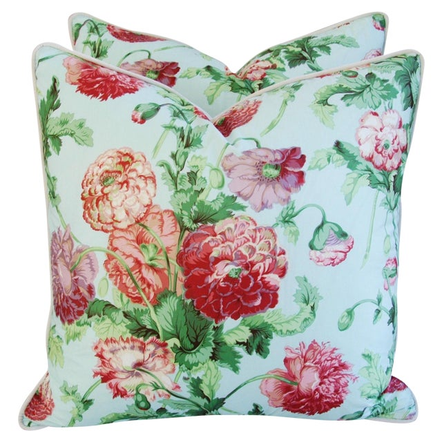"""Designer Brunschwig & Fils Poppies Feather/Down Pillows 22"""" Square - Pair For Sale - Image 10 of 10"""