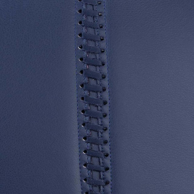 Not Yet Made - Made To Order Banded Ottoman in Indigo Leather by Moses Nadel For Sale - Image 5 of 7
