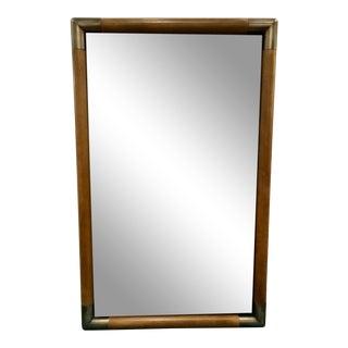Modern Drexel Heritage Wood and Metal Beveled Mirror For Sale