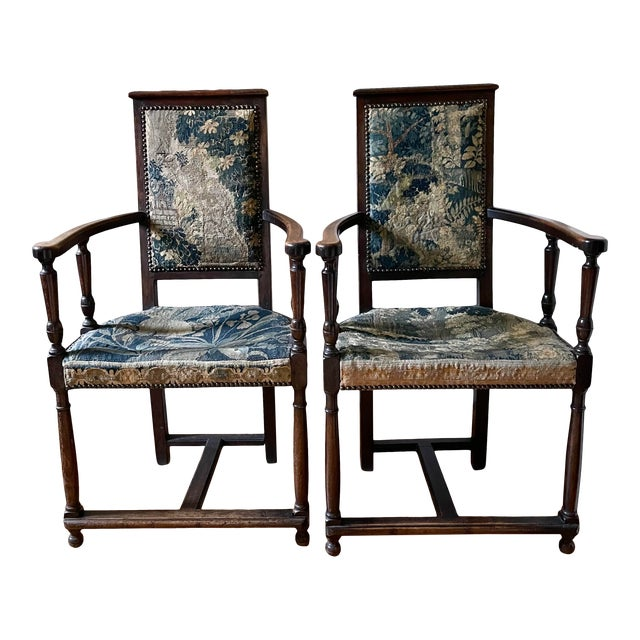 Charles II Revival 19th Century Walnut Arm Chairs With 17th Century Verdure Tapestry Upholstery - a Pair For Sale