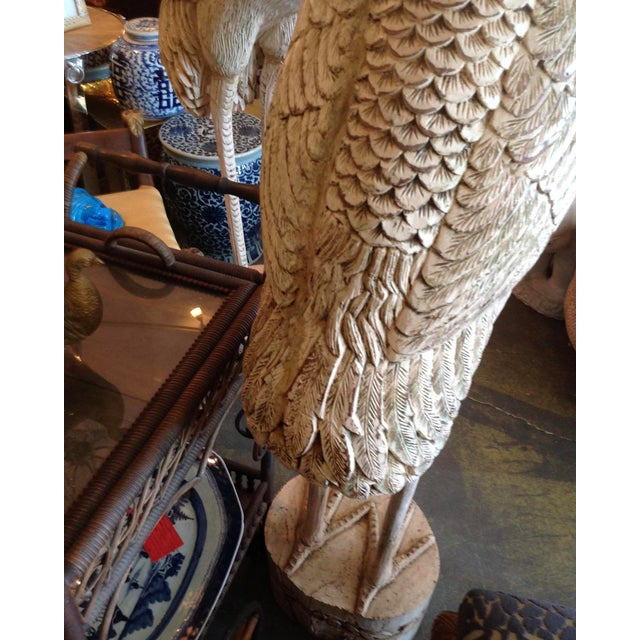 Grandly Scaled Pair of Vintage Carved Cranes For Sale - Image 12 of 14