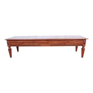 Baker Furniture French Regency Louis XVI Style Burled Walnut Coffee Table, Newly Restored For Sale