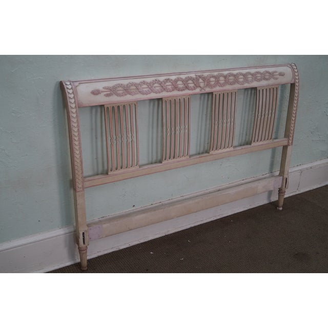 Vintage french country painted queen headboard chairish for Painted on headboard