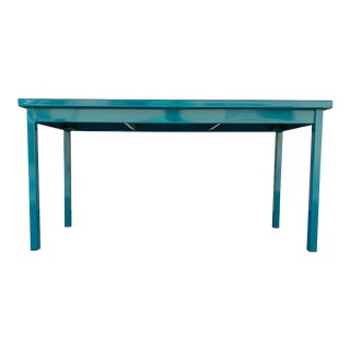 Mid Century Tanker Table in an Uncommon Size, Refinished in Teal For Sale