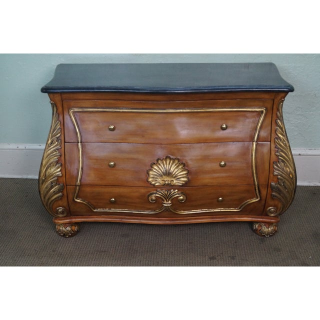 French Louis XV Style Bombe Marble Top Commode Chest AGE/COUNTRY OF ORIGIN: Approx 20 years, Asia DETAILS/DESCRIPTION:...