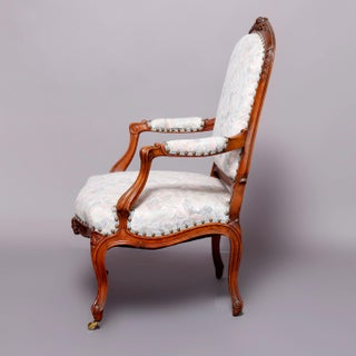 Vintage Mid Century French Louis XVI Carved Fruitwood Upholstered Armchair Preview