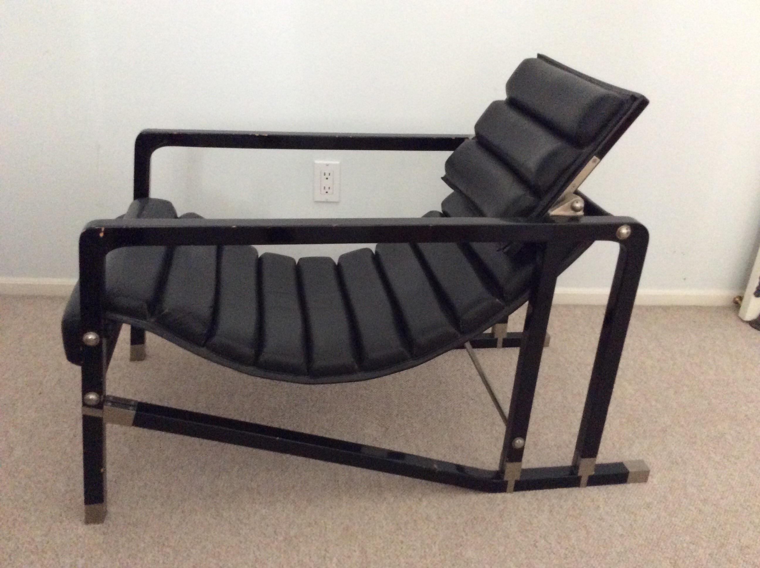 1980s Modern Eileen Gray For Ecart International Black Leather Armchair