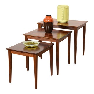 Set of 3 Danish Modern Rosewood Nesting Tables For Sale