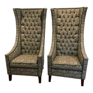 Hollywood Regency Green Snakeskin Print and Teal Velvet Wingback Chairs - a Pair