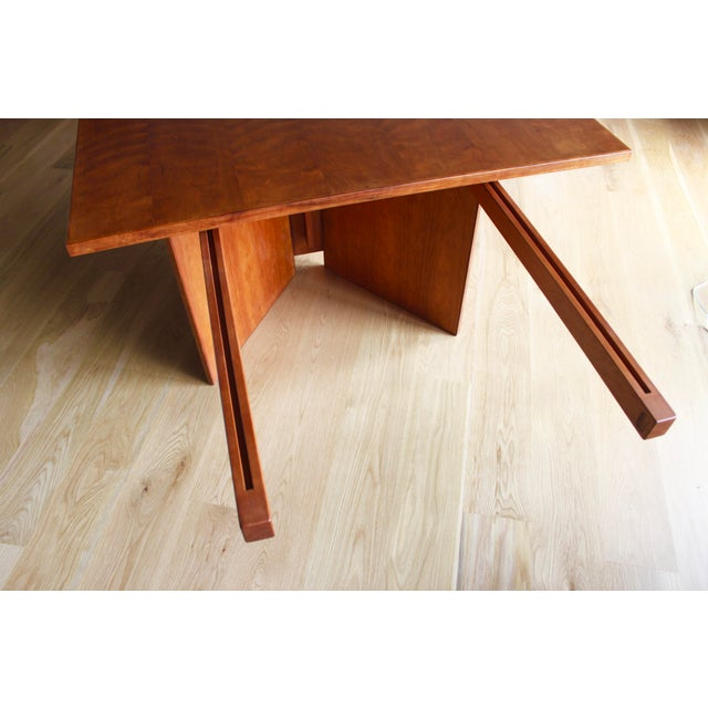 Vintage Custom Usonian Frank Lloyd Wright Taliesin Style Prairie Arts and Crafts Cherry Expanding Dining Table, Seats 8-16+ For Sale In San Diego - Image 6 of 13