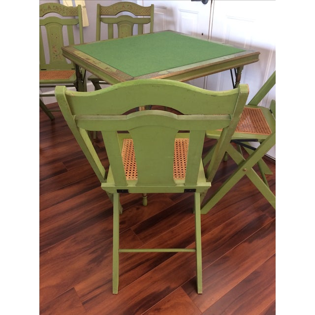 Green Vintage Ferguson Felt Card Table & Chairs For Sale - Image 8 of 8
