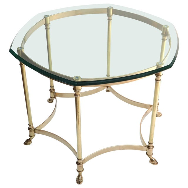 Hexagonal Brass Side Table With Glass Top and Goat Feet For Sale - Image 10 of 10