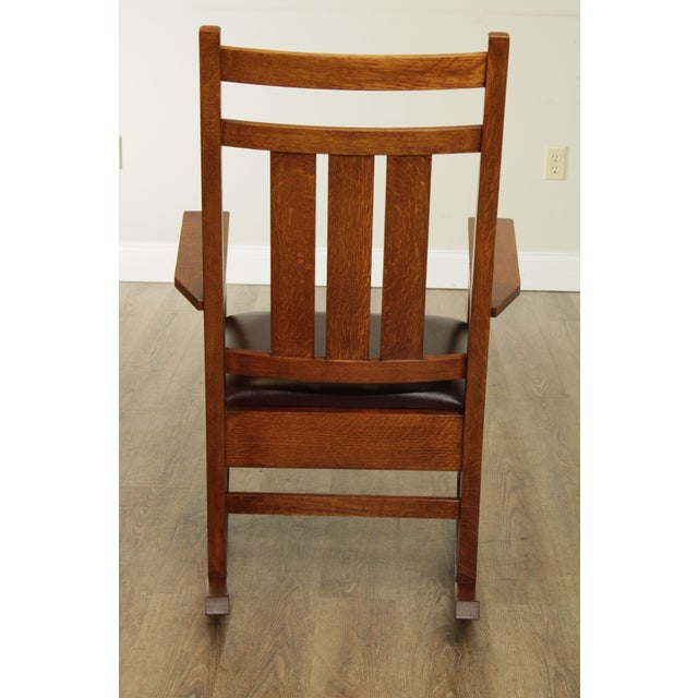 2000 - 2009 Stickley Mission Collection Harvey Ellis Rocker with Inlay For Sale - Image 5 of 13