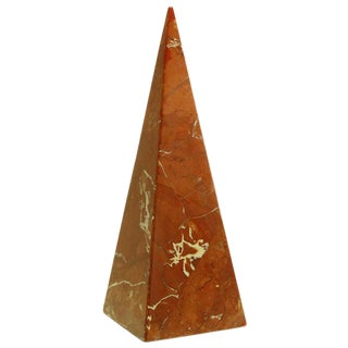 Rouge Marble Pyramid Sculpture, Mid 20th Century For Sale