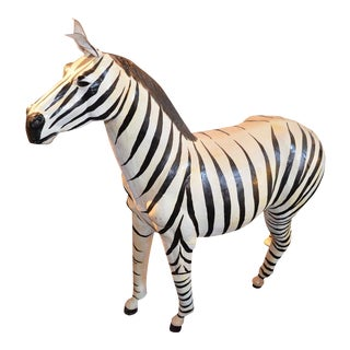 Vintage Hand Crafted Genuine Leather Zebra Statue For Sale