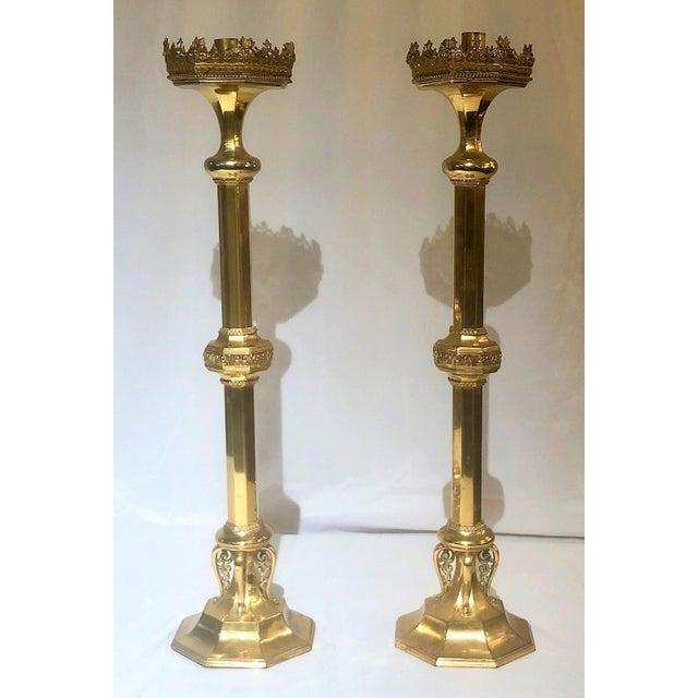 Pair Antique 19th Century Ormolu (Gold on Bronze) Church Candlesticks.