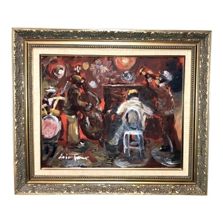 "1990s Vintage Andrew Turner ""Jazz"" Oil Painting For Sale"