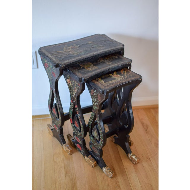 20th Century Asian Handprinted Stacking Tables - Set of 3 For Sale - Image 12 of 12