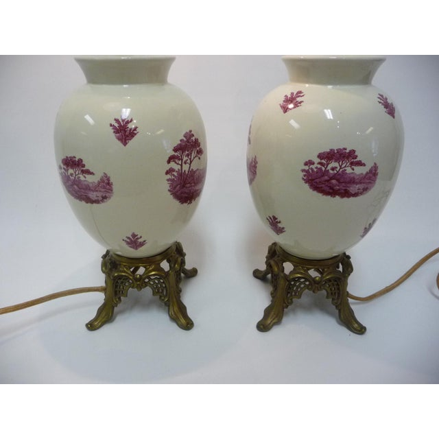 Semi-Porcelain Victorian-Style Table Lamps - A Pair - Image 6 of 7