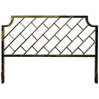 1970s Chippendale King-Size Brass Bed Headboard For Sale