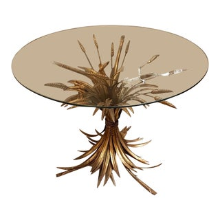 French Gilt Metal Wheat Sheaf coffee/side mid century modern Table For Sale