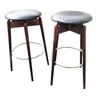 Vintage Mid Century Arthur Umanoff Bar Stools- A Pair For Sale