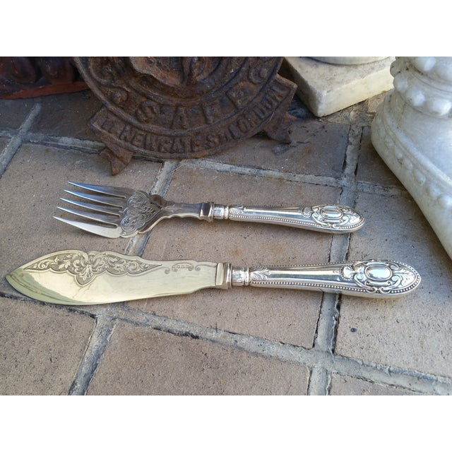 Antique Silver Sheffield Fish Servers - Image 4 of 7