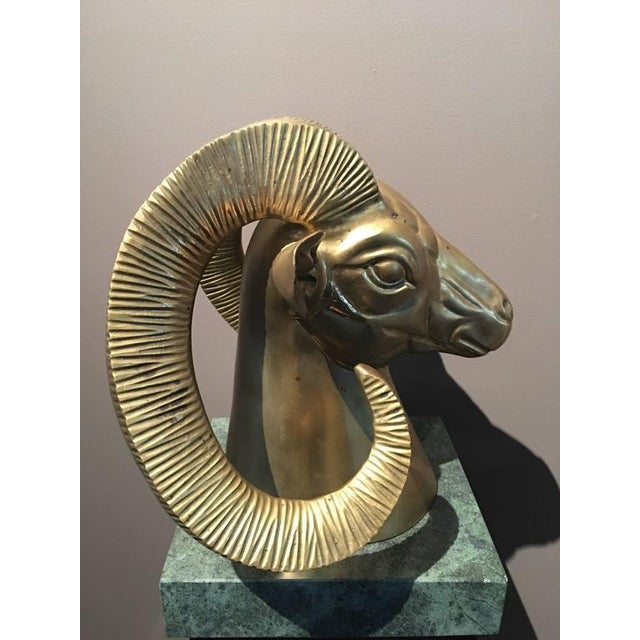 Hollywood Regency Brass Ram Bust on Green Marble Base For Sale - Image 4 of 6