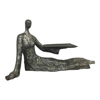 Mid-Century Metal Sculpture of Reclining Female Business Card Holder For Sale