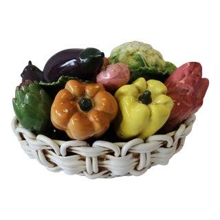 Vintage Italian Ceramic Vegetable Basket For Sale