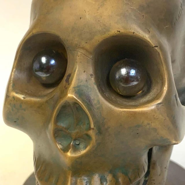 Early 20th Century Victorian Bronze Skull With Glass Eyes, by s.w. Farber, New York For Sale - Image 5 of 10