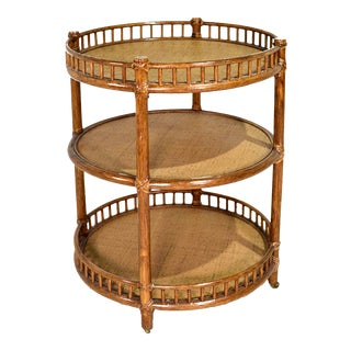 1970s McGuire Rattan Bamboo Bar Cart on Casters For Sale