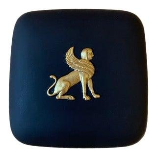 Vintage Wedgwood Black & Gilt Basalt Sphinx Box For Sale