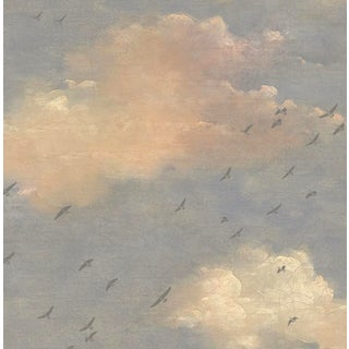 Pink Blue and Cream Birds in Flight Wallpaper - 1 Double Roll For Sale