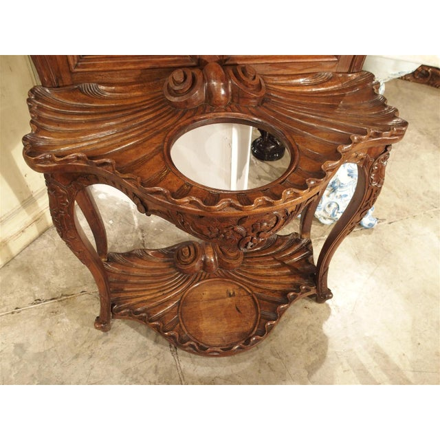 Antique French Walnut Wood Hall Rack and Umbrella Stand, Circa 1880 For Sale - Image 11 of 11
