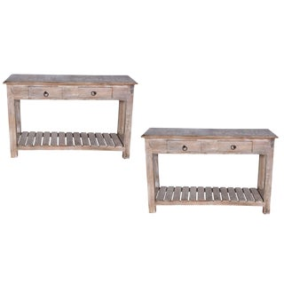 Contemporary Duplin Mango Wood Console Tables - a Pair