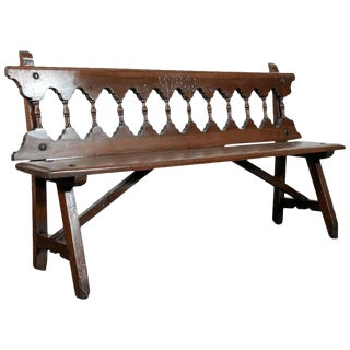 Rustic Mid-19th Century Walnut Spanish Bench For Sale