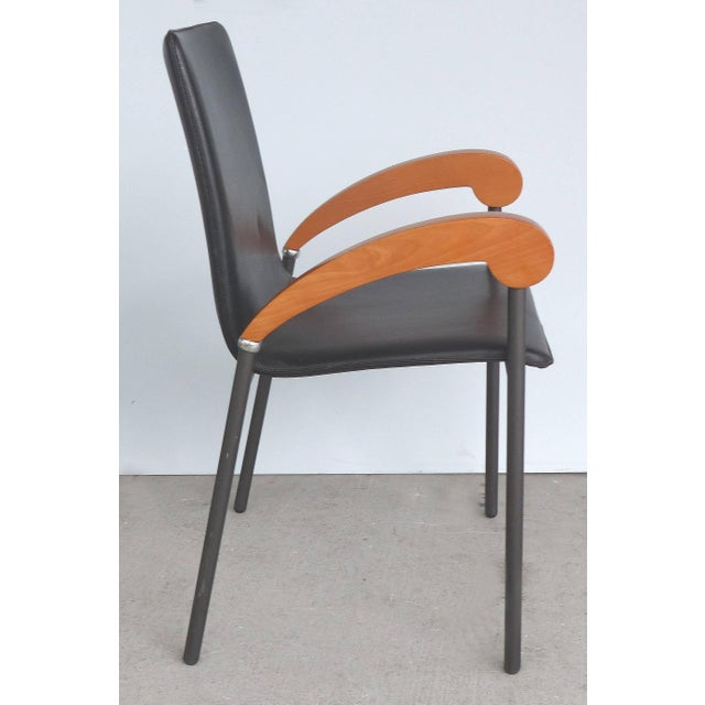 Black Xo Design Metal and Wood Armchairs With Full Grain Leather Seats For Sale - Image 8 of 9