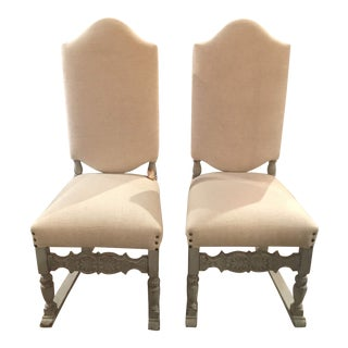 1910s French Grey Distressed Painted Chairs - a Pair For Sale