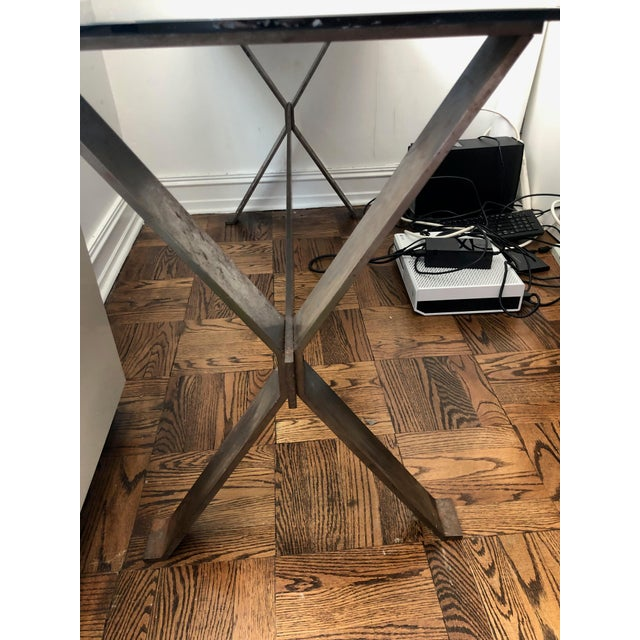 Late 20th Century 20th Century Industrial and Eclectic Smoked Glass and Steel X Base Console For Sale - Image 5 of 7