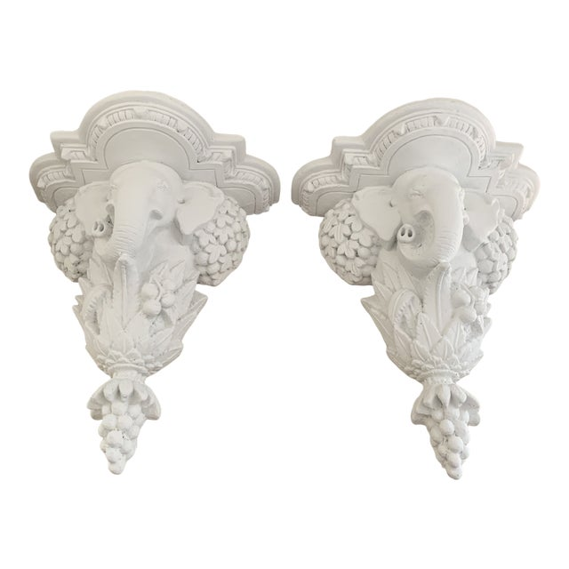 White Gampel-Stoll Style Hollywood Regency White Plaster Elephant Wall Brackets - a Pair For Sale